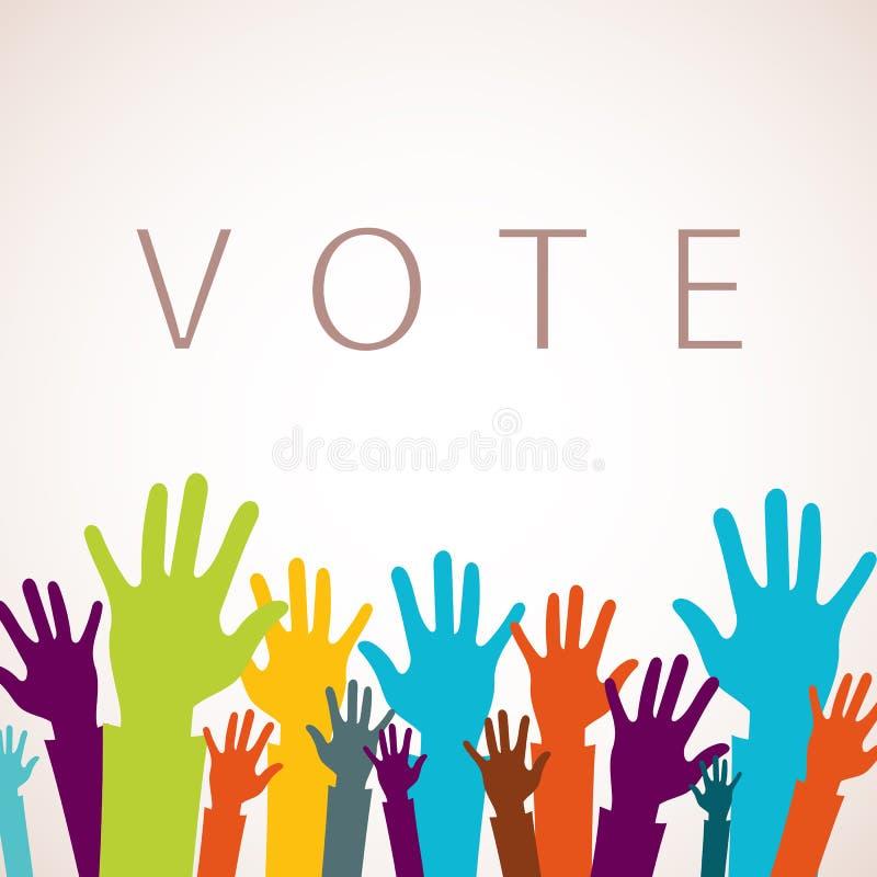 Di voto concetto ora Icona alta variopinta delle mani Vettore piano illustrazione vettoriale