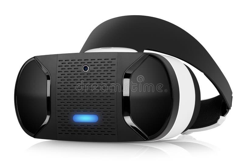 Di VR di realtà virtuale di vista frontale girata della cuffia avricolare metà immagine stock libera da diritti