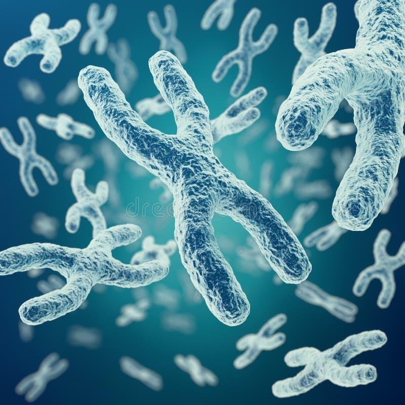 Di x-y-cromosomi su fondo, su terapia genica medica di simbolo o su ricerca della genetica di microbiologia con con effetto di fu illustrazione di stock