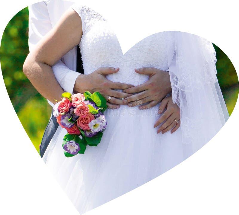 Dia bonito do casamento, ramalhete, anéis fotografia de stock royalty free