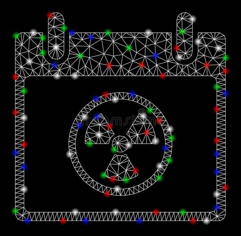 Dia brilhante de Mesh Wire Frame Atomic Calendar com pontos claros ilustração royalty free