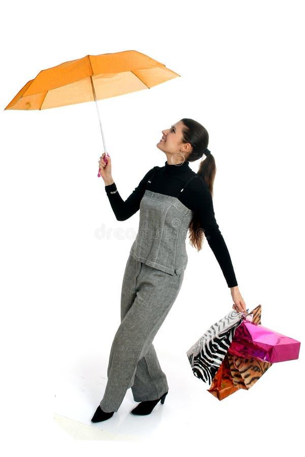 Dia chuvoso da compra imagem de stock