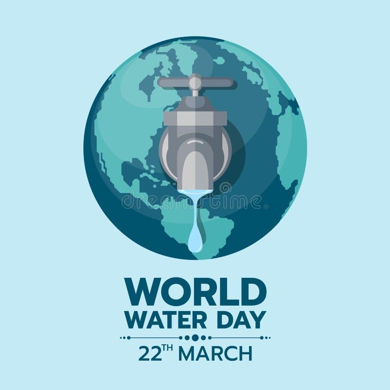 Dia da água do mundo - torneira do torneira ou de água com uma gota da água para fora à terra ilustração royalty free