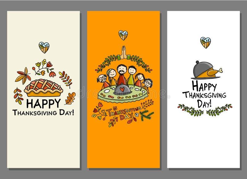 Dia da ação de graças, cartões da arte para seu projeto ilustração stock