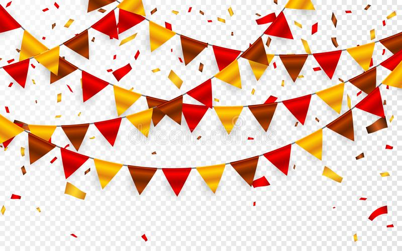 Dia da ação de graças, festão das bandeiras no fundo transparente Festões de bandeiras amarelas e de confetes marrons vermelhos d ilustração do vetor