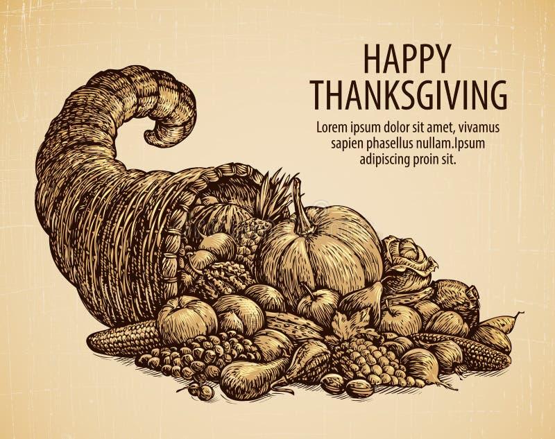 Dia da acção de graças Cartão do feriado Cornucópia do esboço do vintage com frutas e legumes ilustração do vetor