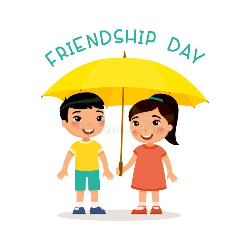 Dia da amizade Suporte asiático pequeno bonito do menino e da menina com um guarda-chuva ilustração stock