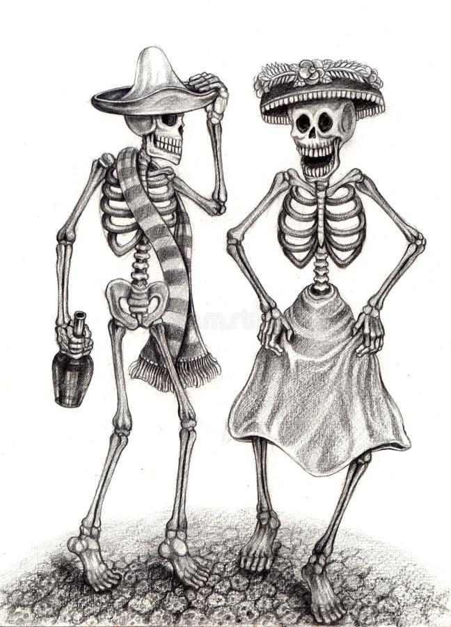 Dia da arte do crânio dos mortos Desenho da mão no papel ilustração royalty free