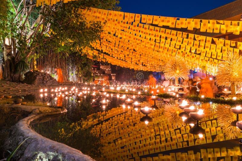 Dia da celebração de Makha Bucha em Chiang Mai, Tailândia foto de stock
