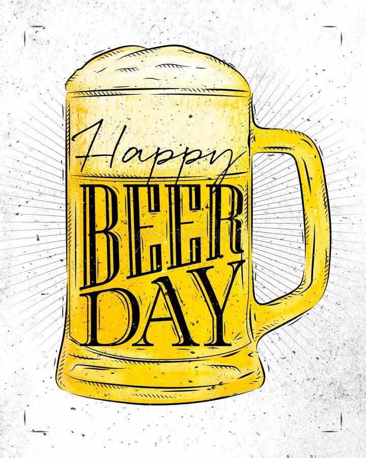Dia da cerveja do cartaz ilustração royalty free