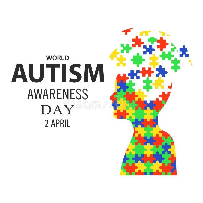 Dia 02 da conscientização do autismo do mundo ilustração royalty free