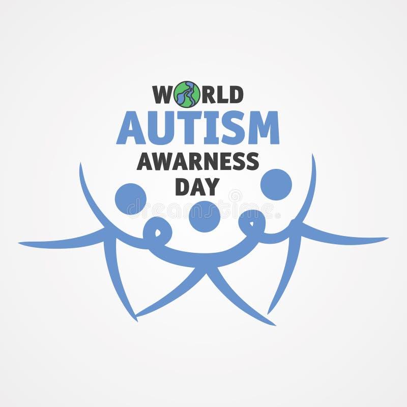 Dia da conscientização do autismo do mundo da palavra com três pessoas para juntar-se às mãos ilustração stock