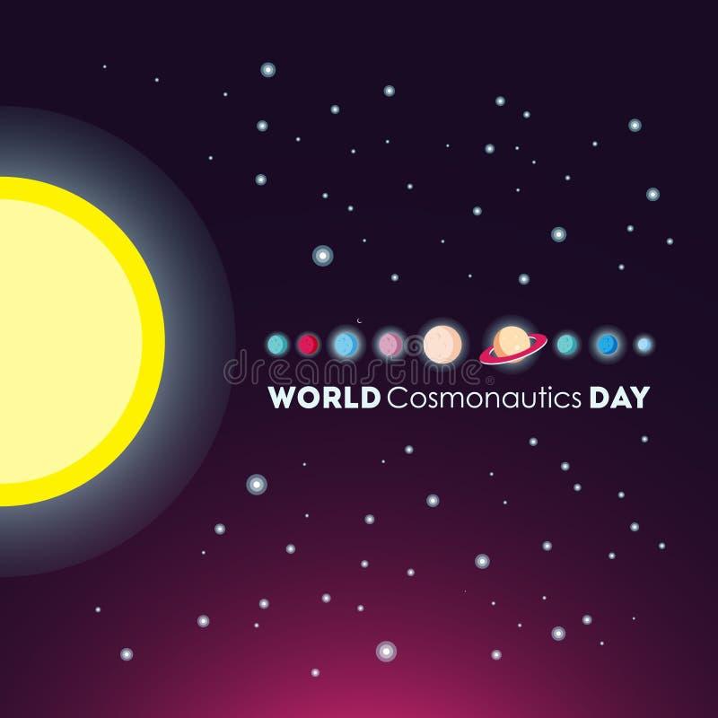 Dia da cosmonáutica do mundo ilustração do vetor