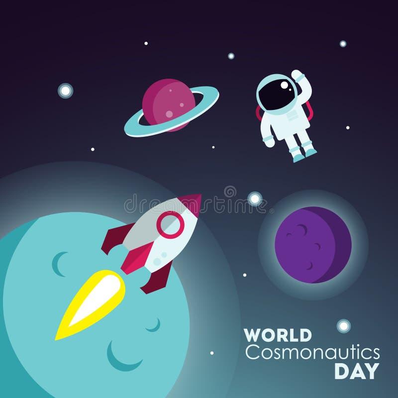 Dia da cosmonáutica do mundo ilustração stock
