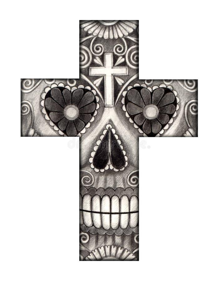 Dia da cruz do crânio da arte do festival inoperante ilustração stock