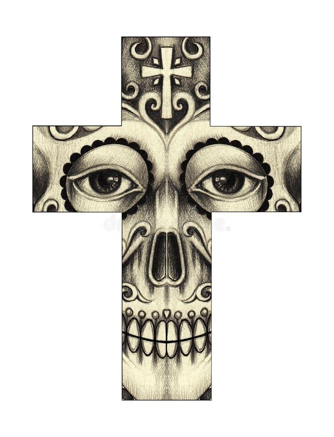 Dia da cruz do crânio da arte dos mortos ilustração stock