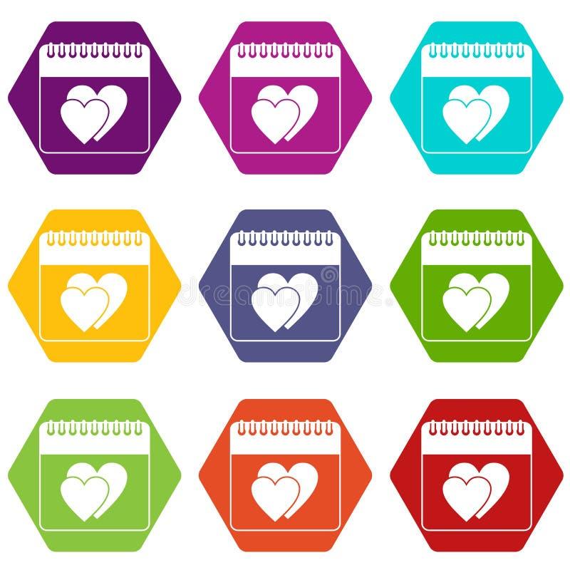 Dia da data do casamento em hexahedron ajustado da cor do ícone do calendário ilustração do vetor