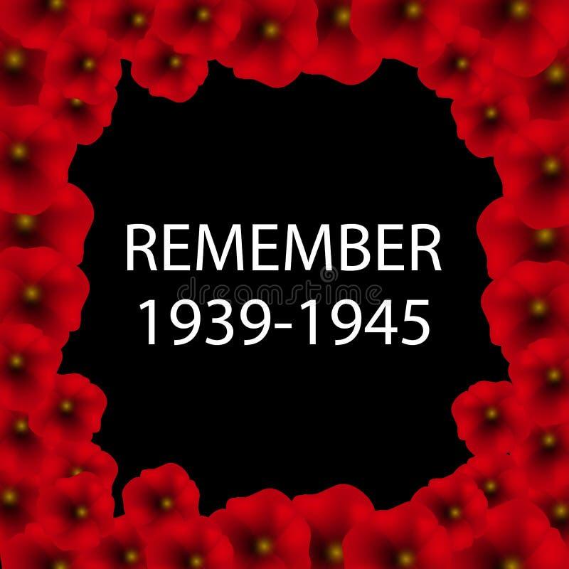 Dia da ilustração da relembrança e da reconciliação Cartaz 1939-1945 da segunda guerra mundial ilustração royalty free
