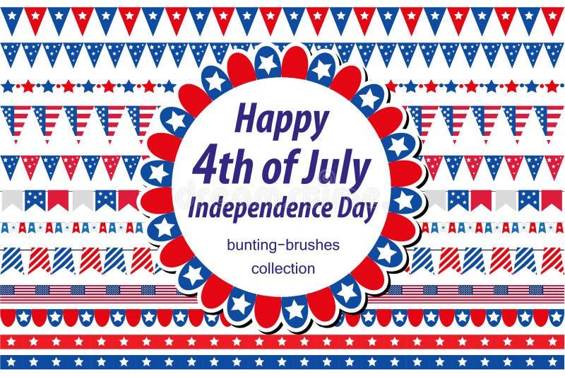 Dia da Independência americano, celebração nos EUA Ajuste beiras, estamenha, bandeiras, festão Coleção de elementos decorativos ilustração do vetor