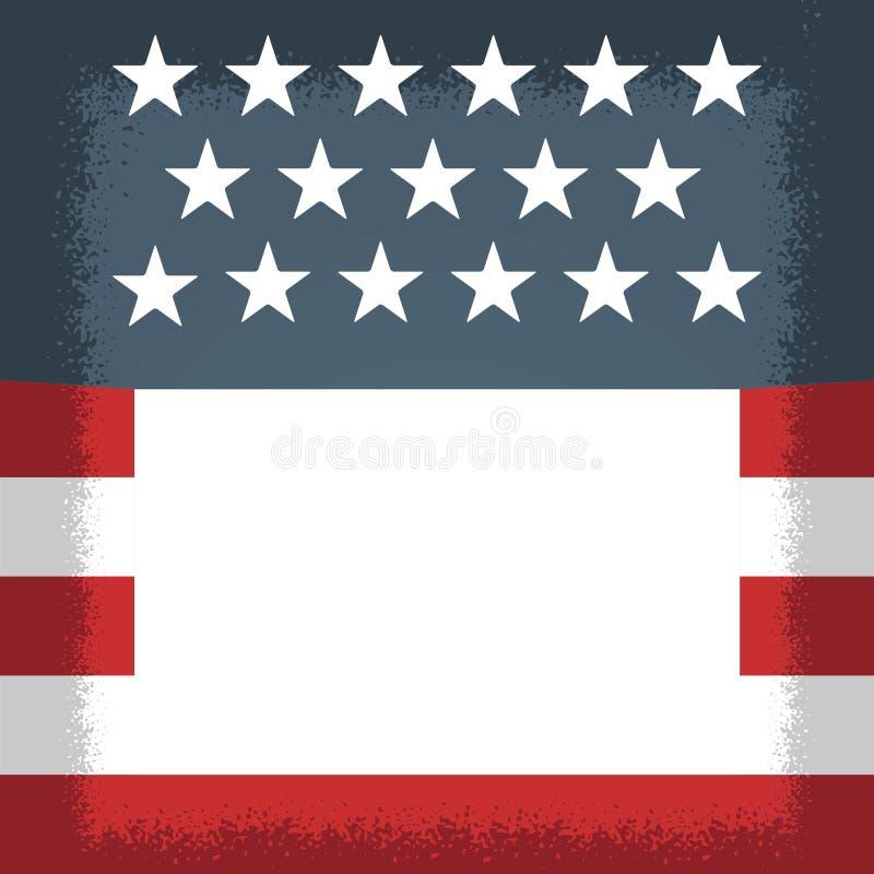 Dia da Independência americano, feriados americanos e eventos Branco do flayer político e vermelho azuis ilustração royalty free