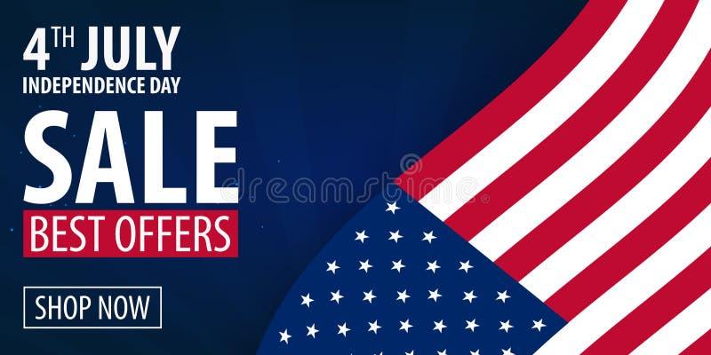 Dia da Independência americano 4o de ofertas exclusivas venda de julho, cartaz da venda Fundo do molde para cartões, cartazes, le ilustração do vetor
