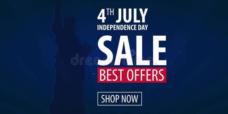 Dia da Independência americano 4o de ofertas exclusivas venda de julho, cartaz da venda Fundo do molde para cartões, cartazes, le ilustração royalty free
