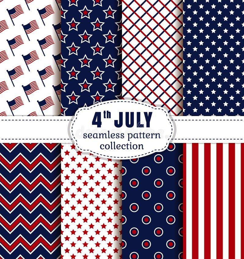 Dia da Independência americano Os testes padrões sem emenda ajustaram-se ilustração royalty free