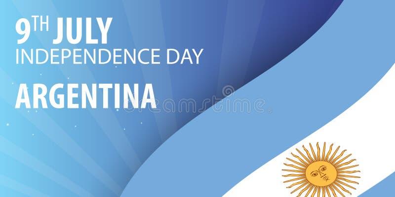 Dia da Independência de Argentina Bandeira e bandeira patriótica Ilustração do vetor ilustração royalty free