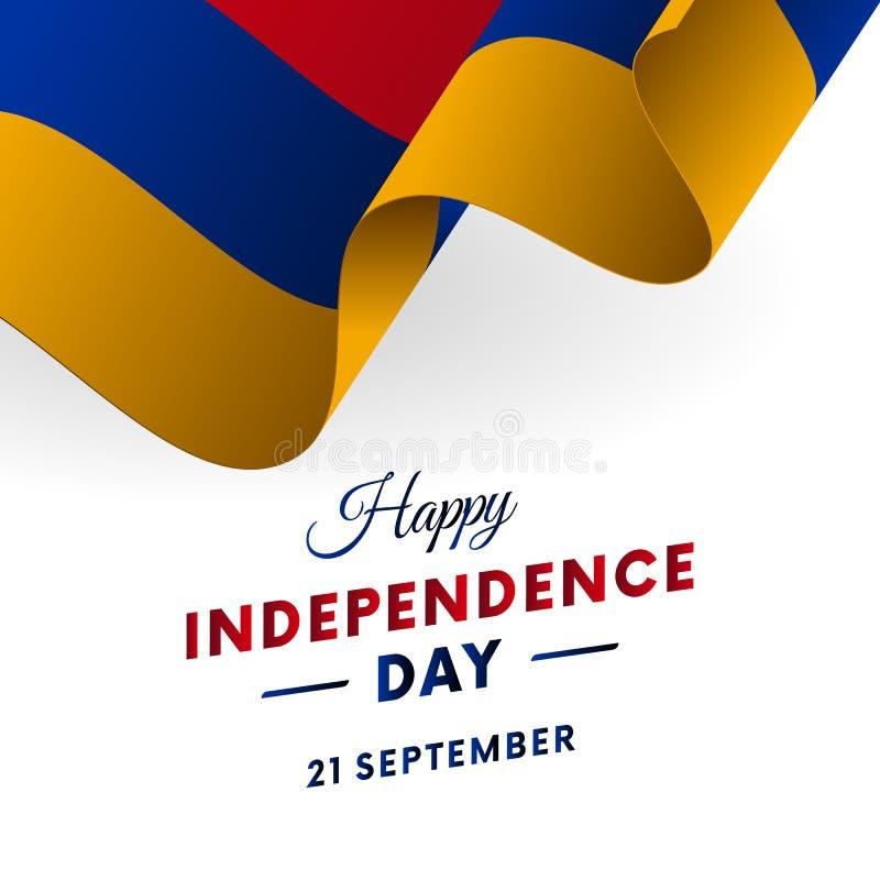 Dia da Independência de Armênia 21 de setembro Bandeira de ondulação Ilustração do vetor ilustração royalty free