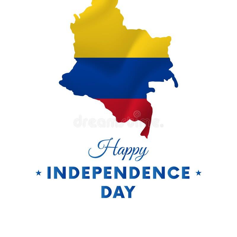 Dia da Independência de Colômbia Mapa de Colômbia Ilustração do vetor ilustração do vetor