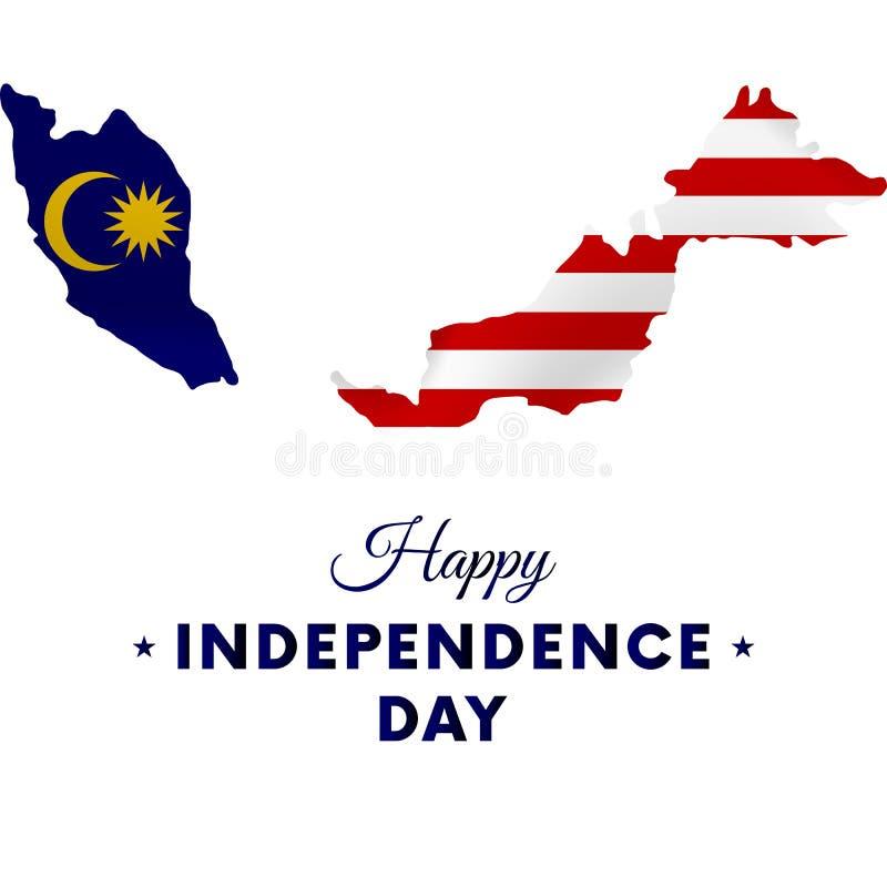 Dia da Independência de Malásia Mapa de Malásia Ilustração do vetor ilustração stock