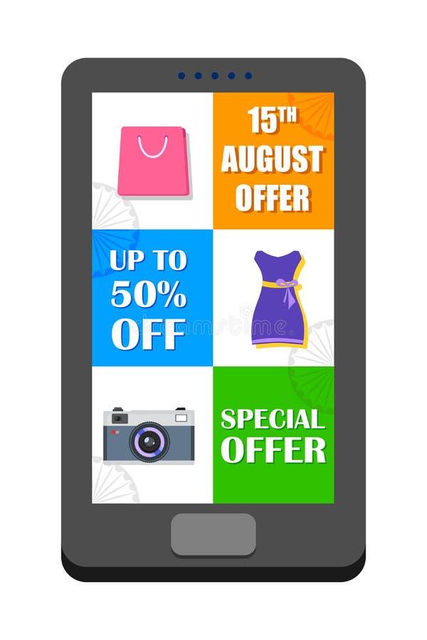 Dia da Independência de oferta da venda da Índia na aplicação móvel ilustração royalty free