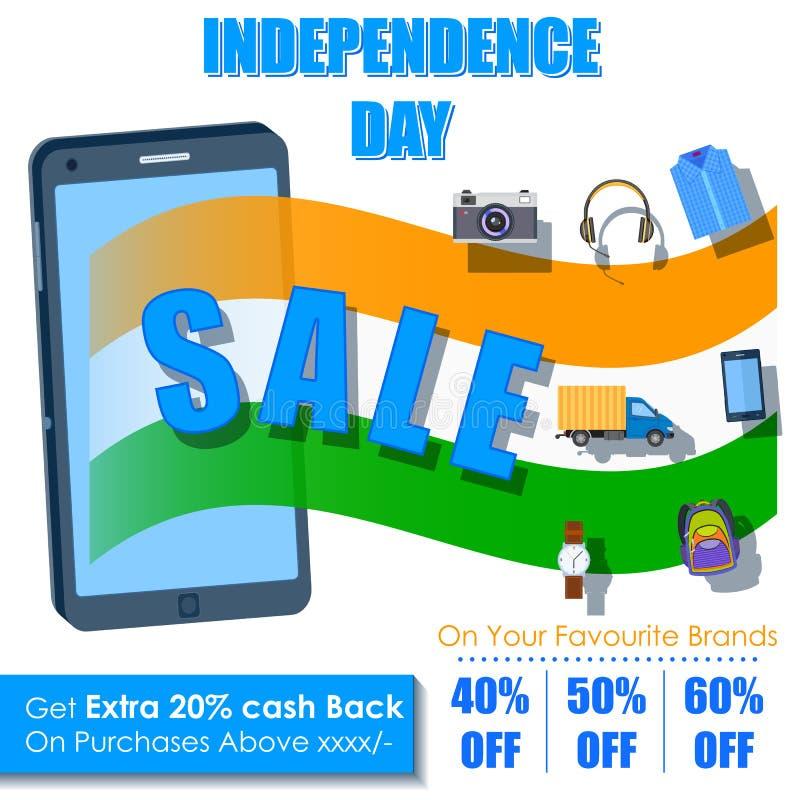 Dia da Independência de oferta da venda da Índia na aplicação móvel ilustração stock