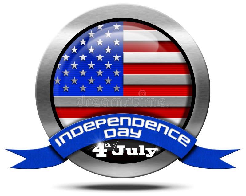Dia da Independência dos EUA - ícone do metal ilustração do vetor