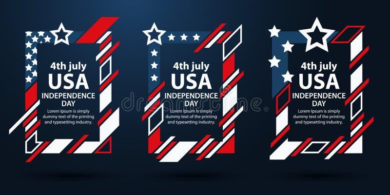 Dia da Independência dos EUA 4o do grupo de julho de quadros para o texto Gráficos da arte moderna Quadros verticais dinâmicos, f ilustração do vetor