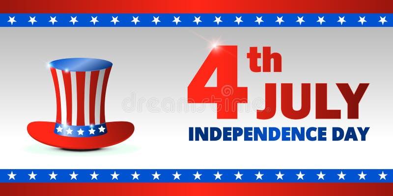 Dia da Independência feliz dos EUA, 4o de julho Projete para o cumprimento e a ilustração do molde da bandeira da promoção de ven ilustração stock