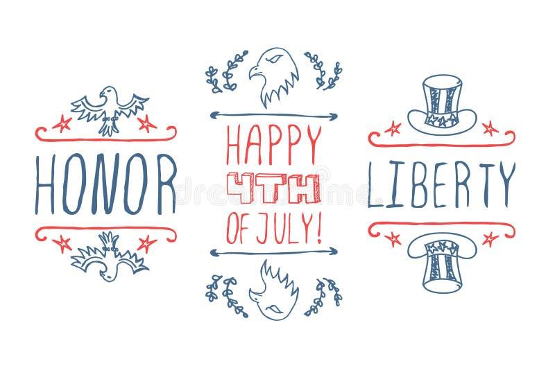 Dia da Independência Mão-esboçado tipográfico ilustração stock