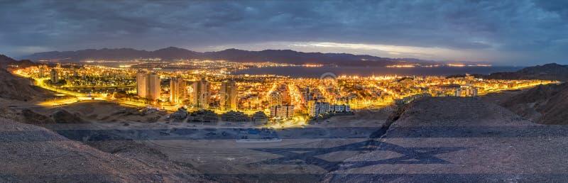 Dia da Independência nos montes que cercam a cidade de Eilat fotografia de stock royalty free