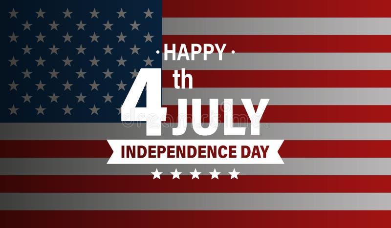Dia da Independência 4o dos EUA de feriado de julho Bandeira de Estados Unidos da Am?rica Bandeira feliz do Dia da Independ?ncia  ilustração do vetor