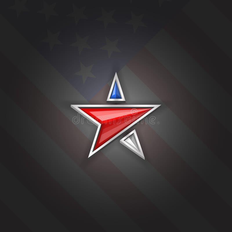 Dia da Independência patriótico 4o dos EUA do símbolo do logotipo da estrela de modelo da placa do cartaz de julho, fundo da band ilustração stock
