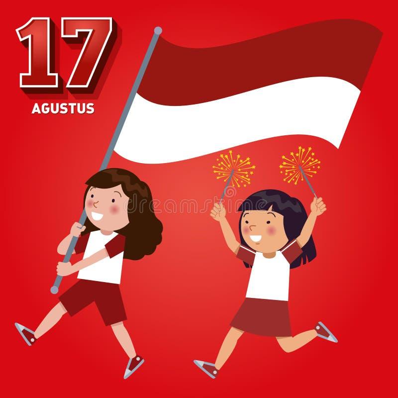 Dia da Independência da república de Indonésia o 17 de agosto ilustração stock