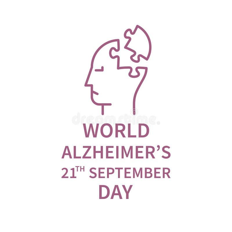 Dia da linha FO Alzheimer do logotipo ilustração do vetor