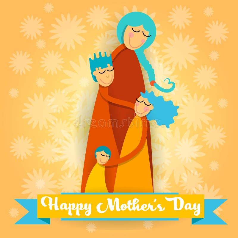 Dia da mãe feliz, crianças do amor três da família, menino da mamã e cartão do abraço da menina ilustração stock