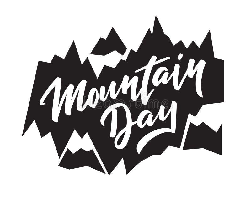 Dia da montanha - texto escrito à mão, palavras, tipografia, caligrafia, mão-rotulação ilustração do vetor