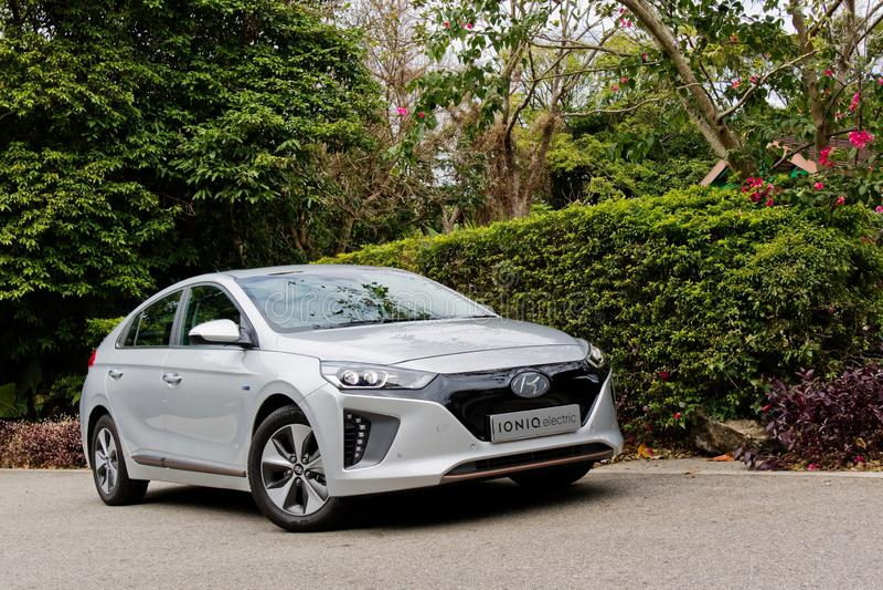Dia da movimentação do teste de Hyundai IONIQ EV 2018 fotografia de stock royalty free