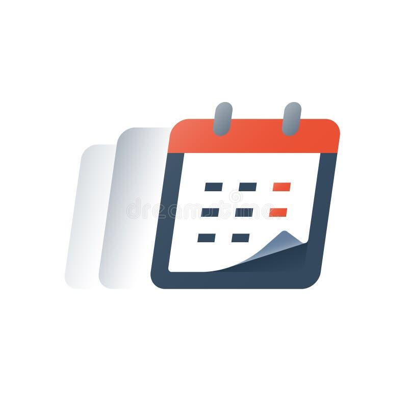 Dia da nomeação, período do calendário, evento mensal, conceito da programação, negócio e serviço da finança, prestação do fim do ilustração stock
