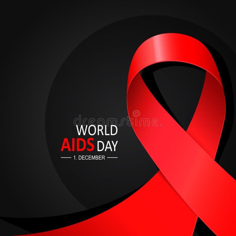Dia da palavra do SIDA 1º de dezembro o dia da conscientização do SIDA Fita de seda vermelha ilustração stock