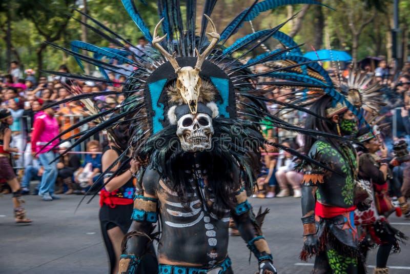 Dia da parada inoperante de Diâmetro de los Muertos em Cidade do México - México fotografia de stock