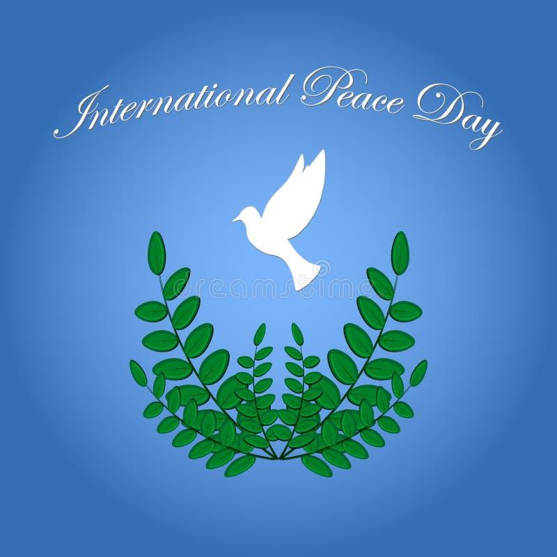 Dia da paz de Intetrnational do símbolo da pomba ilustração do vetor