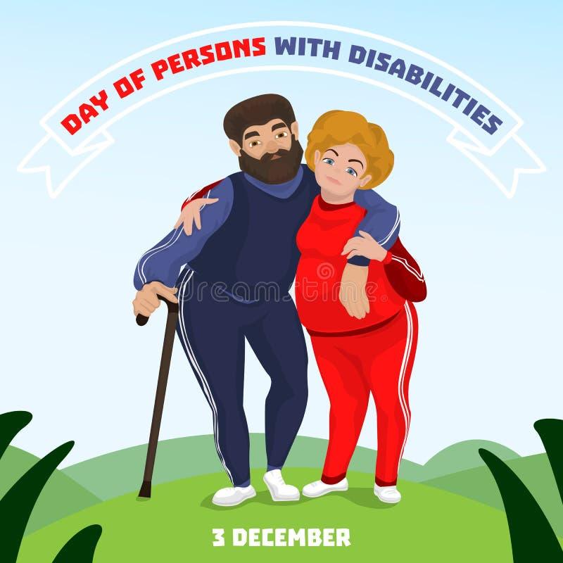 Dia da pessoa com fundo do conceito das inabilidades, estilo dos desenhos animados ilustração do vetor